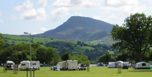 Level grass piches at Glanllyn caravan & camping park