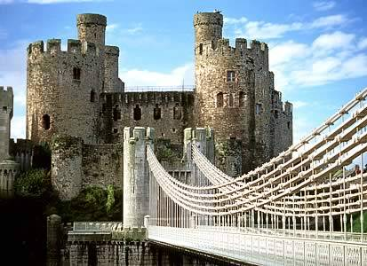 Conwy Castle and the famous suspension bridge